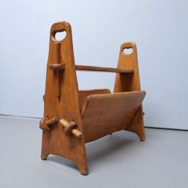 1950'S RUSTIC OAK MAGAZINE RACK