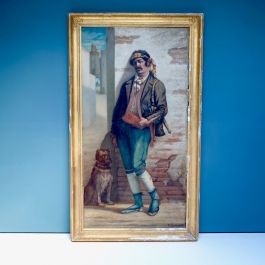 Large 19Thc Painting Of A Dubious Character