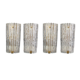 FOUR LARGE ORREFORS GLASS AND BRASS WALL SCONCES