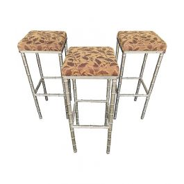 SET OF 3 FRENCH 1960S FAUX BAMBOO CHROME BARSTOOLS WITH ORIGINAL LEAF FABRIC