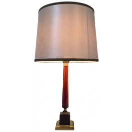 Elegant Red Celluloid And Brass Table Lamp