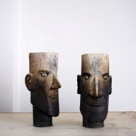Pair of Contemporary Stoneware Heads