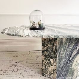 1970's Green & White Luna Marble Dining Table