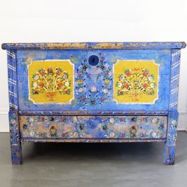 French Cobalt Blue Painted Trunk Dating from 1869