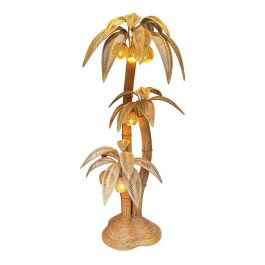 Very Large Bamboo And Rattan 3 Stemmed Palm Tree Floor Lamp With Seven Coconut Lights