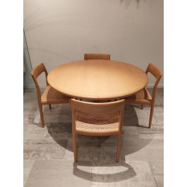 Vintage Dining Table & Chairs Set by Niels Otto Møller for J.L. Møllers, Set of 5
