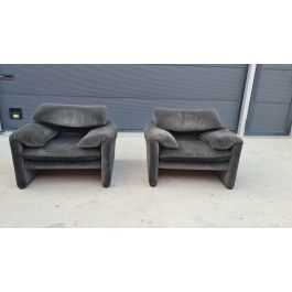Vintage Model Maralunga Lounge Chair by Vico Magistretti for Cassina, 1970s, Set of 2