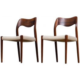 Vintage Rosewood Dining Chairs by Niels Otto Møller for J.L. Møllers, 1950s, Set of 2