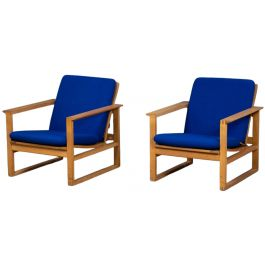 Vintage Sled Lounge Chairs in Oak by Børge Mogensen for Fredericia, 1970s, Set of 2