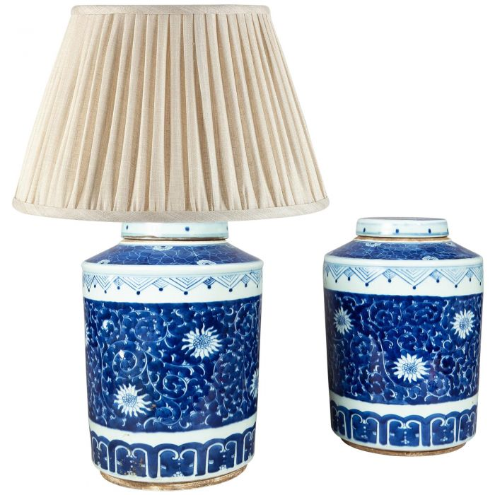 Pair Of Porcelain Blue And White Ginger, Blue And White Ginger Jar Lamps Uk